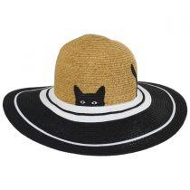 Peeking Kitty Kids Toyo Straw Blend Sun Hat alternate view 2