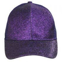 Glitter Mesh High Ponytail Adjustable Trucker Baseball Cap alternate view 14