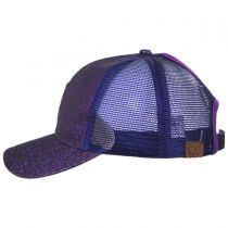 Glitter Mesh High Ponytail Adjustable Trucker Baseball Cap alternate view 15