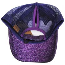 Glitter Mesh High Ponytail Adjustable Trucker Baseball Cap alternate view 16