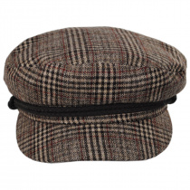 Houndstooth Plaid Wool Blend Fiddler Cap alternate view 2