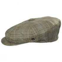 Overcheck Plaid Wool and Linen Newsboy Cap in