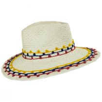 Joanna Embroidered Palm Straw Fedora Hat alternate view 3