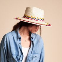 Joanna Embroidered Palm Straw Fedora Hat alternate view 5