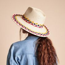 Joanna Embroidered Palm Straw Fedora Hat alternate view 6