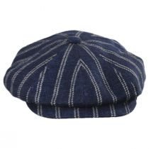 Striped Linen Blend Newsboy Cap in