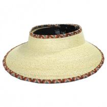 Bondi Ikat Trim Palm Straw Visor in