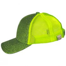 Kids High Ponytail Glitter Mesh Strapback Baseball Cap in
