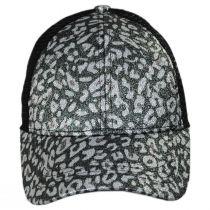 High Ponytail Glitter Leopard Mesh Adjustable Baseball Cap alternate view 2