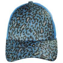 High Ponytail Glitter Leopard Mesh Adjustable Baseball Cap alternate view 14