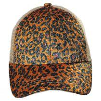 High Ponytail Glitter Leopard Mesh Adjustable Baseball Cap alternate view 6