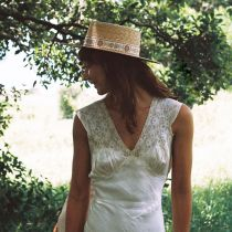 Spencer Wheat Straw Boater Hat in