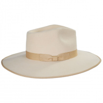 Ivory Wool Felt Rancher Fedora Hat in