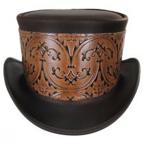 El Dorado Leather Top Hat with Brown Heraldic Hat Wrap Band in