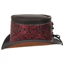 El Dorado Leather Top Hat with Red Heraldic Hat Wrap Band in