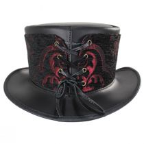 El Dorado Leather Top Hat with Red Medallion Hat Wrap Band in