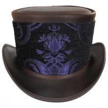 El Dorado Leather Top Hat with Purple Medallion Hat Wrap Band alternate view 3
