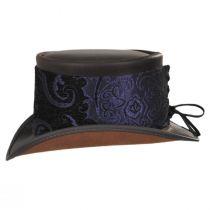 El Dorado Leather Top Hat with Purple Medallion Hat Wrap Band alternate view 4