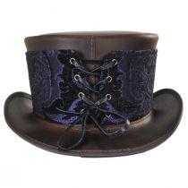 El Dorado Leather Top Hat with Purple Medallion Hat Wrap Band alternate view 5