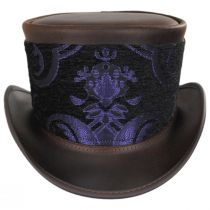 El Dorado Leather Top Hat with Purple Medallion Hat Wrap Band in