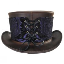 El Dorado Leather Top Hat with Purple Medallion Hat Wrap Band alternate view 25