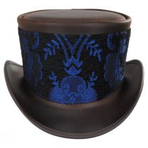 El Dorado Leather Top Hat with Blue Medallion Hat Wrap Band in