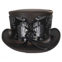 El Dorado Leather Top Hat with Silver Medallion Hat Wrap Band in