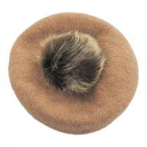 Kids Faux Fur Pom Wool Beret alternate view 3