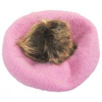 Kids Faux Fur Pom Wool Beret alternate view 6