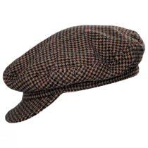 Unstructured Plaid Wool Blend Fiddler Cap in