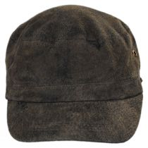 Weathered Leather Cadet Cap in