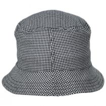 Houndstooth Reversible Cotton and Wool Blend Bucket Hat in