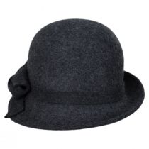 Twist Bow Side View Wool Felt Cloche Hat in