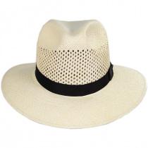 Bethpage Vent Crown Panama Straw Safari Fedora Hat alternate view 2