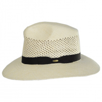 Bethpage Vent Crown Panama Straw Safari Fedora Hat alternate view 6