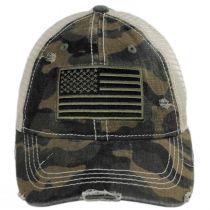 High Ponytail Camo US Flag Mesh Trucker Baseball Cap in