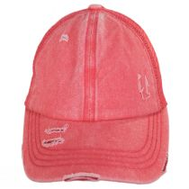 High Ponytail Distressed Mesh Trucker Baseball Cap alternate view 10