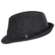 Herringbone Wool Trilby Fedora Hat in