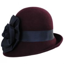 Ribbon Flower Profile Wool Felt Cloche Hat in