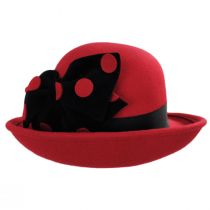 Polka Dot Band Wool Felt Off the Face Hat in