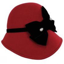 Velvet Band Wool Felt Asymmetrical Cloche Hat alternate view 3