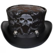 Crossbones Leather Top Hat in