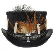Broken Bones Leather Top Hat in