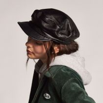 Unstructured Leather Fiddler Cap in