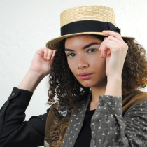 Black Band Wheat Straw Skimmer Hat alternate view 5