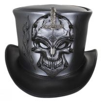Knighted Skull Leather Top Hat alternate view 2