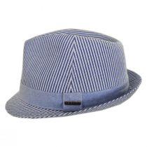 Blues Seersucker Cotton Fedora Hat alternate view 3