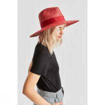 Joanna Red Wheat Straw Fedora Hat alternate view 4