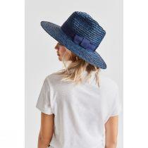 Joanna Navy Blue Wheat Straw Fedora Hat alternate view 2