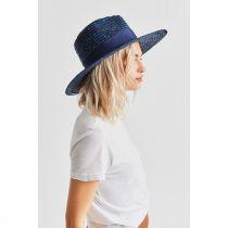 Joanna Navy Blue Wheat Straw Fedora Hat alternate view 3